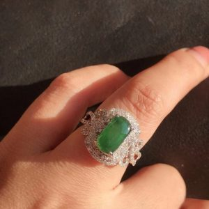 Natural Jadeite Ring Saddle-shaped Women's Jadeite Ring