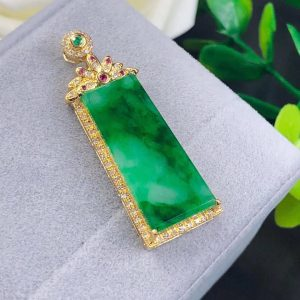 High Grade Jadeite & 18k Gold Necklace Natural Pure Green Jadeite Pendant