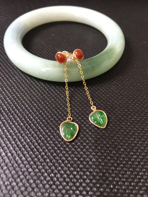 Custom Made Natural Jadeite Earring