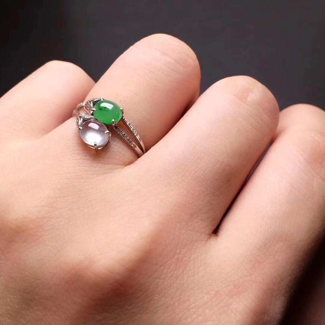 Translucent Icy Green Jadeite Jade Saddle Ring Size 7.0